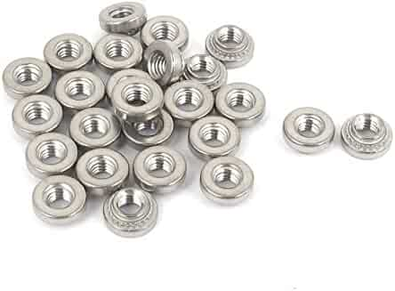 Carbon Steel White Zinc Plated uxcell M6 x1mm Nylon Insert Hex Lock Nuts Pack of 50
