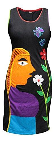 Shopoholic Moda Mujeres Negro Longitud de la rodilla sin mangas vestido de flores de Lady negro