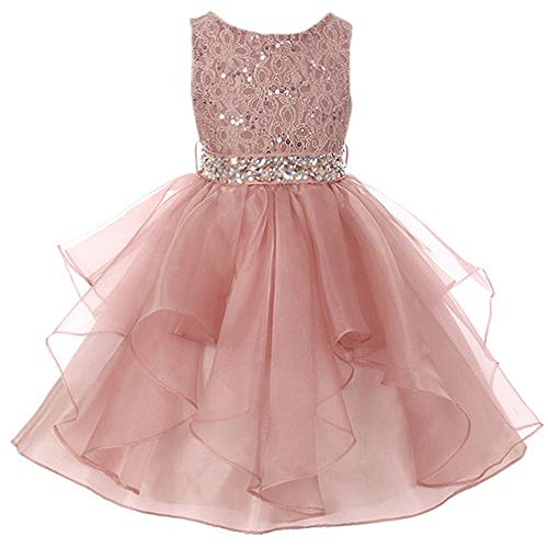 Big Girls Lace Bodice Asymmetric Ruffles Tulle Skirt Rhinestones Flower Girl Dress Blush - Size 14]()