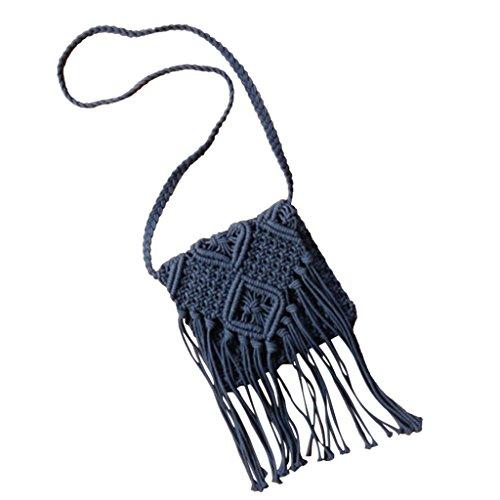Mujeres Para Guerra Del Rota De Hacia Borlas Del Oscuro Hombro De cuerpo Fuera Marina Cruz Ganchillo Azul Ahueca Bolsa De Bolso De q8Ywzgt