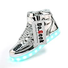 DoGeek Unisex Light up Shoes Amazon For Adult 7 Colors Led Shoes High Top USB Flashing Sneakers