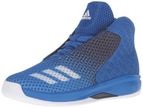 adidas Boys' Court Fury 2016 K Skate Shoe, Blue/White/Black, 11 M US Little (Court Kids Skateboard Shoe)