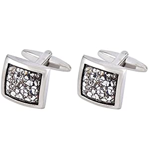 Premium Cuff Links with Swarovski Black Patina Crystal Elements - Designed & Made in England