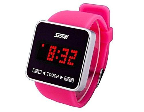 SKMEI 0950デジタル表示シリコンバンドスポーツ電子メンズレディースユニセックス腕時計アニメーション文字セット3 ATM防水LED (ピンク) B00TPLM7VK