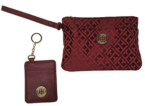 Tommy Hilfiger Womens Wristlet with ID Key Ring Burgundy