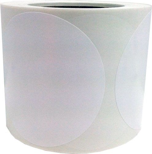 4'' Inch Diameter Round White Color Coding Dot Labels - 500 Colored Circle Stickers Per Roll by InStockLabels.com