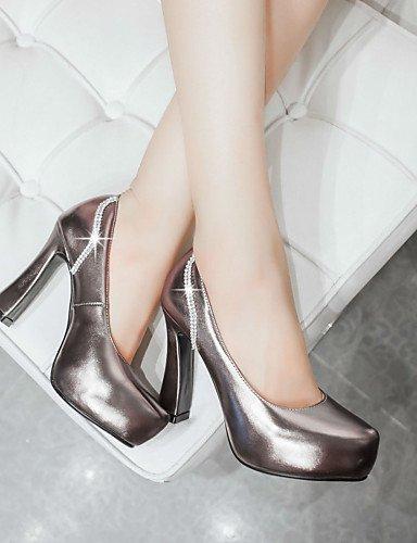 GGX/Damen Schuhe PU Fall Heels/Plattform/Schuhe Heels Office & Karriere/Kleid/Casual geschoben Ferse Schlupfhalsband gray-us6 / eu36 / uk4 / cn36