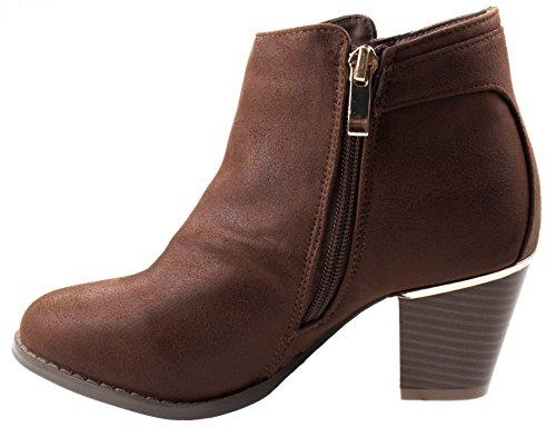 Love Mark Mujeres Rowley-11 Almond Toe Western Cowboy Botaie Chunky Talla Baja Cremallera Marrón