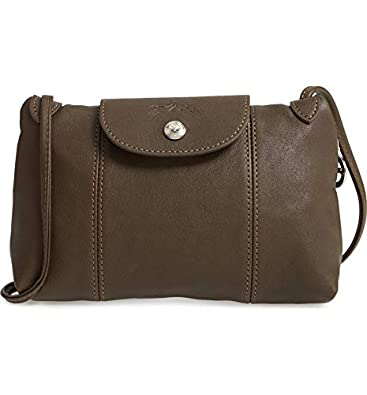 d64821d657df Longchamp Women s Leather Le Pliage Cuir Crossbody Bag Khaki  Handbags   Amazon.com