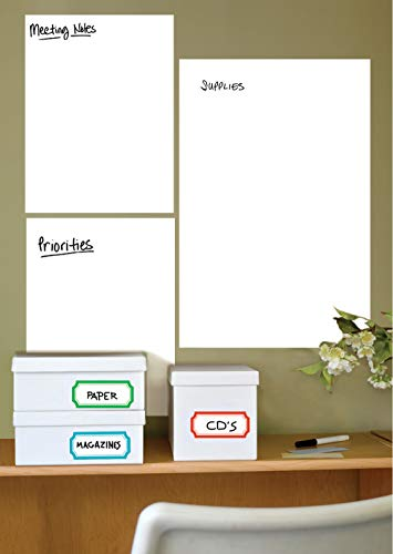 Wallies 16067 9 Pieces Peel-and-Stick Dry Erase Whiteboard Wall Sticker Set