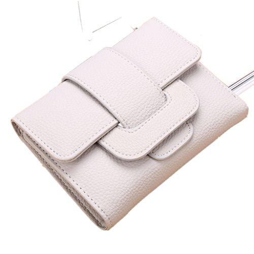 Monedero-All4you sólido PU cuero trifold billetera titular de la tarjeta para mujeres señoras con cierre de cerrojo de correa (rosa) Gris