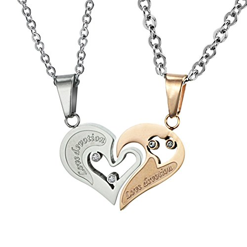 Yolanda Stainless Steel His and Her Couples Necklace Set Matching I Love You Broken Heart Pendant (Gold&Silver) (Pendant Heart Broken)