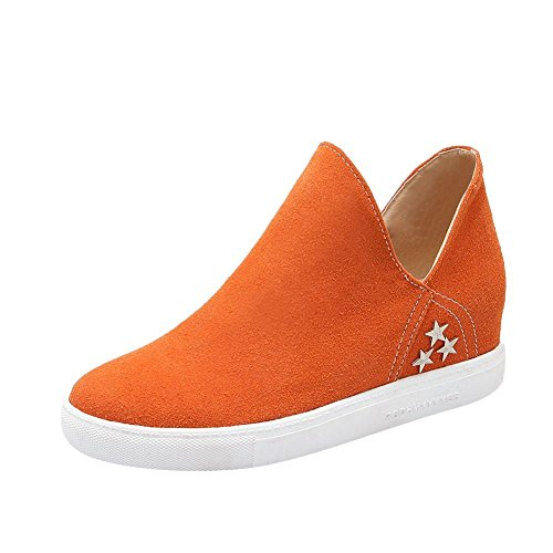 Latasa Womens Chic Faux Nubuck Star Studded Inside Wedge Slip On Loafers Shoes, Comfort Shoes Orange