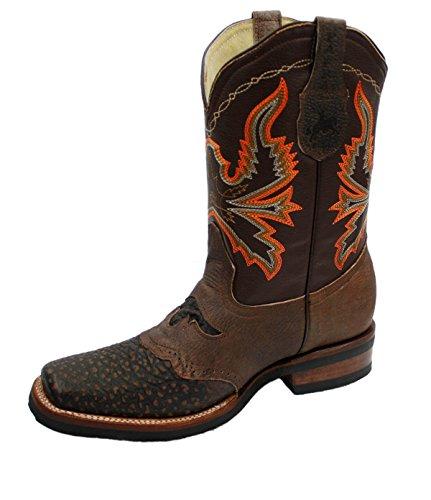8adb3659e884b Stivali Da Cowboy Da Uomo In Vera Pelle Di Vacchetta Stampa Coccodrillo  Rodeo Stivali Marroni ...