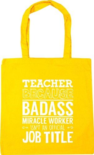 10 badass title litres HippoWarehouse Tote worker Teacher miracle x38cm Bag Gym official Shopping because 42cm Beach Yellow an isn't job qRRTwS4