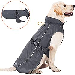 PROPLUMS Dog Raincoat Adjustable Lightweight Jacket with Reflective Straps Buckle and Harness Hole Best Gift for Large Medium Small Puppy Dog XL Grey