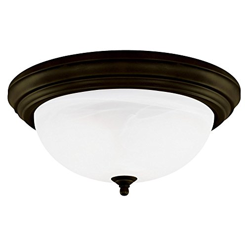 (Westinghouse 64292 15-Inch Three-Light Flush Mount Fixture, Oil Rubbed Bronze with Frosted White Alabaster Globe)