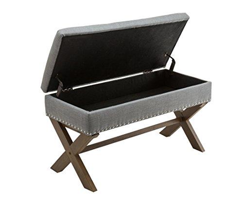 Nailhead Storage Ottoman (Chairus Kipling Grey Fabric Storage Bench with Nailhead Trim)