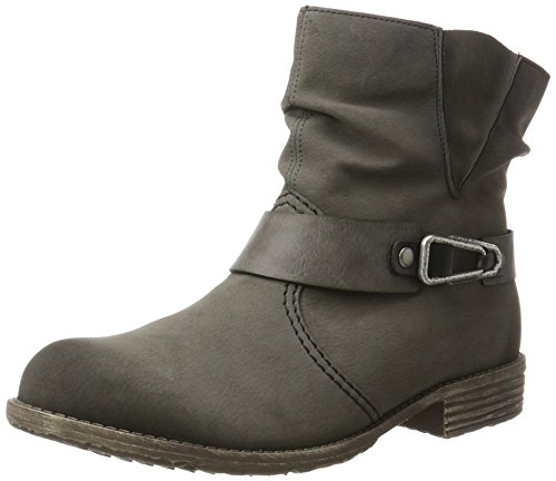 schwarz fumo Boots 74725 fumo Ankle 46 Women Rieker grau grey xWXYYn