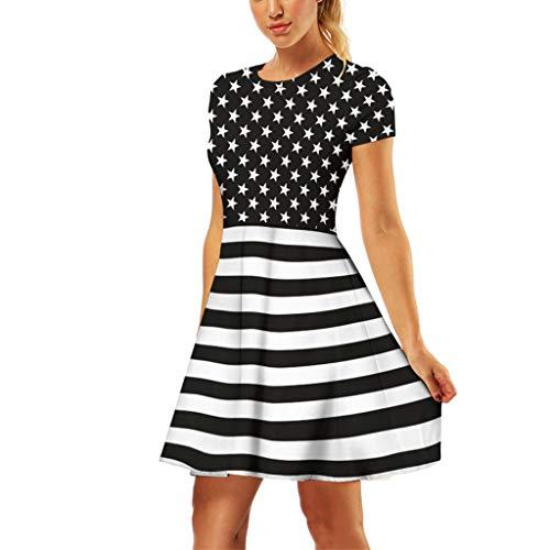 Lelili Fashion Women 3D Printed Mini Dress Short Sleeve Crewneck Casual Dress Summer More Style Long Shirt ()