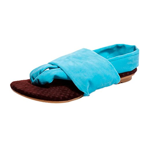 Sexy Plate Semelle Flip flop Tongs Beautyjourney femmes Bleu Chaussures Sandales A Talons Femmes Souple Bohème Beach forme x1w5vtU5q