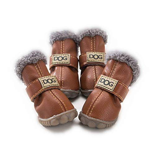 ZeroTone Warm Dog Snow Boots Waterproof Anti-Slip Small Dog Puppy Cat Winter Boots Pet Shoes Solide Style Dark Coffee #4