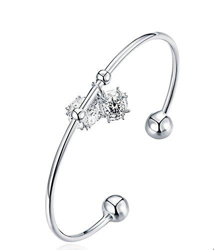 Aokarry Jewelry - Women Gold Plated Bracelet Bangle Bracelet AAA Cubic Zirconia Hoop Silver 17 -