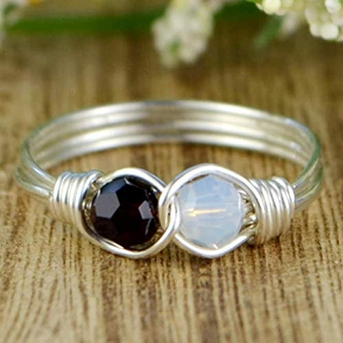 (Any Two Crystals Birthstones Infinity Symbol Ring- Sterling Silver, Yellow or Rose Gold Filled Wire Wrapped Ring- Made to size 4-14)
