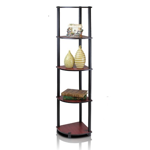 Bathroom Glass Shelf Finish (Furinno 99811DC/BK Turn-N-Tube 5 Tier Corner Shelf, Dark Cherry/Black)