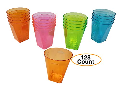 Premium Shot Glasses | Hard Durable Plastic Disposable, For Party 2oz. Square Bottom, Assorted Neon Colors, (128 -