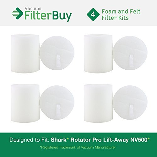 FilterBuy 4 Shark Rotator Pro Lift-Away NV500 Foam & Felt Filter Replacement Kits, Part # XFF500. Designed by to fit Shark Rotator Pro Lift-Away Vacuum Models NV500, NV70, NVC80C, NV90