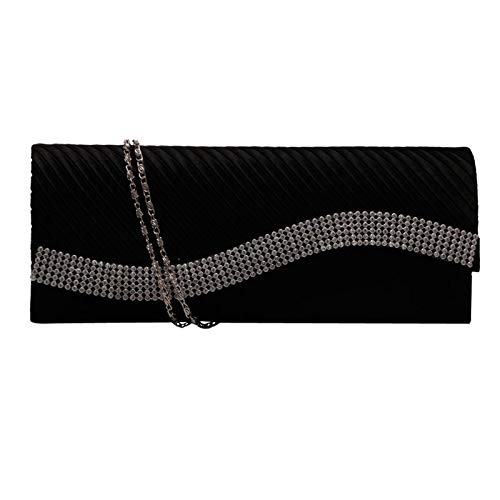 Diamantes 5cm de Fiesta JAGENIE para para Boda Mano imitación 10cm Negro 4 Mujer Mano de 25cm Bolso con Bolso de de de satén Plateado Bolso qqTUg8