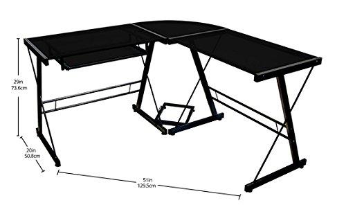 Walker Edison Soreno 3 Piece Corner Desk Black With Black