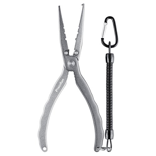 Ring Attached Split - Piscifun Aluminium Fishing Pliers Hook Remover Braid Cutters Split Ring Pliers 8.46Inch, 4 Generation Silver