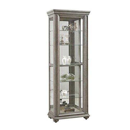 Pulaski P021598 Sliding Framed 5 Shelf Curio Grey Cabinet,