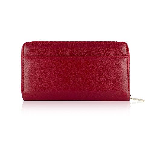 Tressette Exklusive Damen-Geldbörse Italienisches Leder Rot/Orange gkJtjWy
