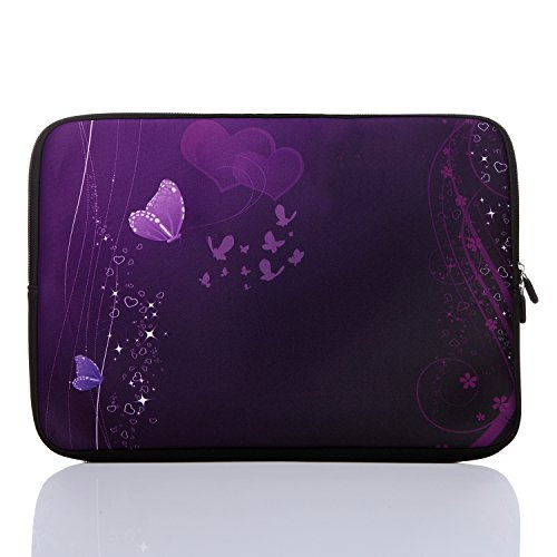 """13.3-Inch to 14-Inch Neoprene Laptop Sleeve Case For 13 13.3 13.9 14 14.1"""" Inch Macbook Air Pro/ Notebook (13.3-14 Inch, Purple Butterfly)"""