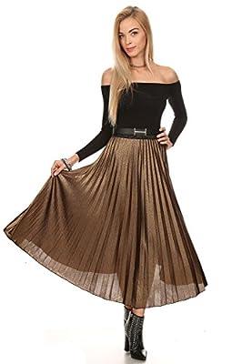 MeshMe Womens Desiree - Metallic Glittery Cheetah Print Accordion Pleated Skirt