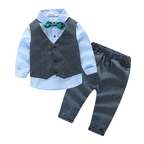 Baby Little Boys' Dressy 3 Pieces Cotton Shirt Tweed Vest Clothes Set Gray-Blue 100