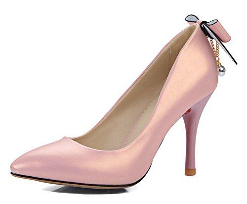 Aisun Donna Sexy Dressy Punta A Punta Taglio Basso Stiletto Tacco Alto Da Sposa Festa Slip On Pumps Scarpe Con Fiocco Rosa