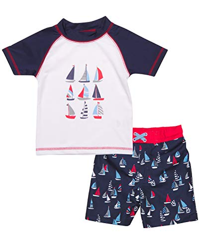 Mick Mack Baby Boys 2-Piece Rash Guard and Trunk Swimsuit Set (Infant & Toddler), Sail Boat, Size Toddler 3T'