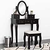Best Choice Products Bedroom Makeup Cosmetic Beauty Vanity Hair Dressing Table Set w/ Adjustable Oval Mirror, Padded Stool Seat, 5 Drawer Storage Organizers - Black