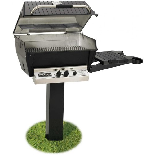 Broilmaster H3PK2N Natural Gas H3XN Grill Head Package with In Ground Post (BL48G) and 1 Drop Down Side Shelf