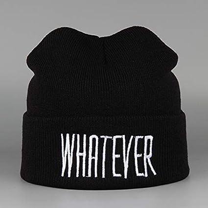 HAOLIEQUAN C/álido Gorros Al Aire Libre para Los Hombres De Invierno Sombreros De Punto Bordado Negro Cap Elegante Sombrero Rapero De Las Mujeres para Ni/ñas Casual Suave