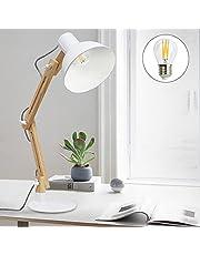 Depuley Klassisk skrivbordslampa varm vit LED läslampa i klassiskt trä, E27 glödlampa, vintage bordslampa justerbar arbetslampa, kontorslampa, sänglampa för sovrum, vardagsrum
