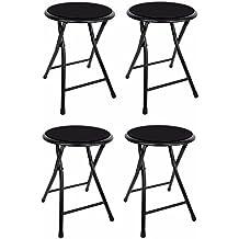 "18"" Premium Lightweight Black Folding Cushioned Stool Outdoor Indoor Barstool Chair (4 Pack)"