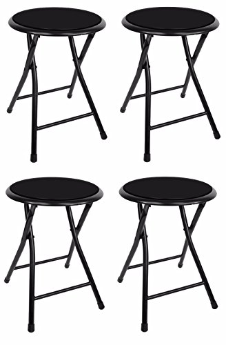 18' Premium Lightweight Black Folding Cushioned Stool Outdoor Indoor Barstool Chair (4 Pack)