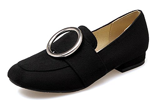 Easemax Womens Mental Decorations Low Chunky Heel Faux Suede Square Toe Low Top Slip On Pumps Shoes Black CJPPND