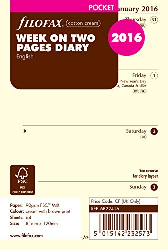 Filofax Pocket Week On Two Pages Cotton Cream English Diary For 2016