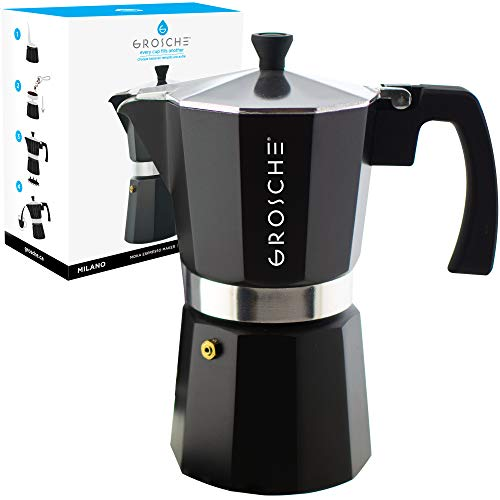 9 Cup Stovetop Espresso Maker - GROSCHE Milano Stovetop Espresso Maker Moka Pot 9 Cup, 15.2 oz, Black. Cuban Coffee Maker Stove top coffee maker Moka Italian espresso greca coffee maker brewer percolator